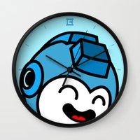 mega man Wall Clocks featuring Mega Man by La Manette