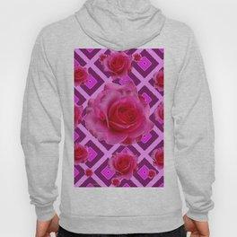 Burgundy Purple Fuchsia Pink Roses  Patterns Hoody