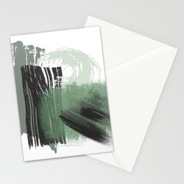 Green Mint Black Gray Abstract painting -1, Nirvana Decorative abstraction, Stationery Cards