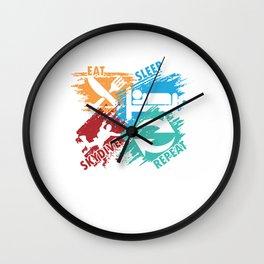 Eat Sleep Skydive Repeat Skydiver Skydiving Parachuting Extreme Sports Gift Wall Clock