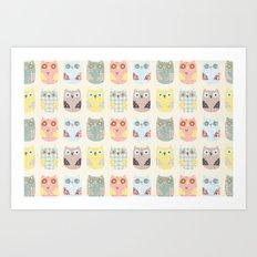 owls pattern Art Print