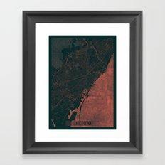 Barcelona Map Red Framed Art Print