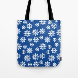 Winter Big White Snowflakes Pattern Blue Tote Bag