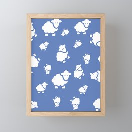 Seamless pattern with cute sheep. Vector kids background Framed Mini Art Print
