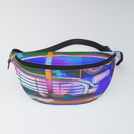 blue classic taxi car with painting abstract in green pink orange  blue Fanny Pack