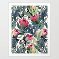 colour Art Prints featuring Painted Protea Pattern by micklyn