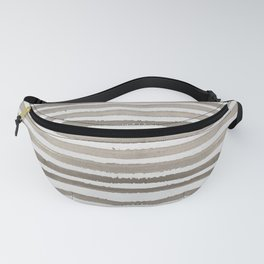 Simply Shibori Stripes Earth Brown on Lunar Gray Fanny Pack
