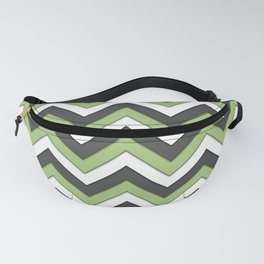 Green Charcoal and White Chevrons Fanny Pack
