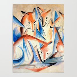 """Franz Marc """"Four foxes"""" Poster"""