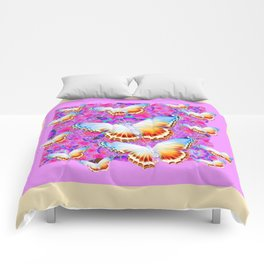 EXOTIC ORIENTAL BUTTERFLIES PINK-YELLOW ART Comforters