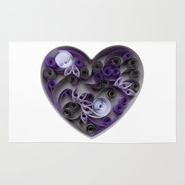 Purple Grey Love Heart Paper Quilled Colorful Heart Wedding Anniversary Gift Rug