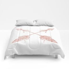 Tribal Arrows Rose Gold on White Comforters