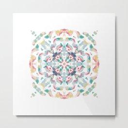 Ethnic Tile Mandala - Abstract Floral Geometric Design Metal Print