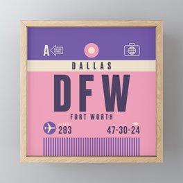 Retro Airline Luggage Tag - DFW Dallas Fort Worth Framed Mini Art Print