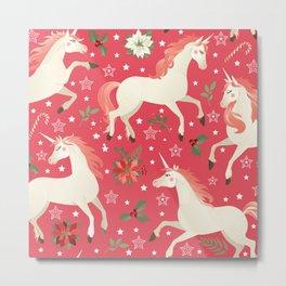 Kitschy Christmas Unicorns on Red Metal Print