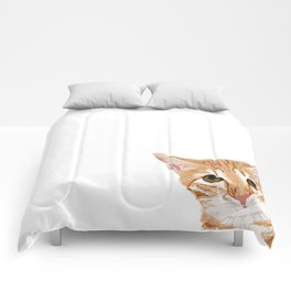 Peeking Orange Tabby Cat - cute funny cat meme for cat ladies cat people Comforters