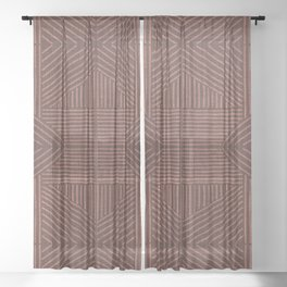 Terracotta clay lines - textured abstract geometric Sheer Curtain