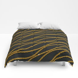 Wave Gold Chain Black Comforters