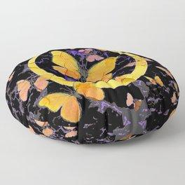BLACK & YELLOW BUTTERFLIES VIGNETTE ABSTRACT ART Floor Pillow
