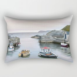 Ballintoy Harbour, Ireland. (Painting) Rectangular Pillow