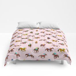 Off to the Horse Races (Pink) Comforters
