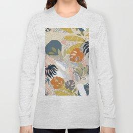 Tropical Foliage Pattern 1 - Retro Boho Long Sleeve T-shirt