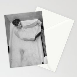 A Good Book and a Bath, female form black and white photography / photograph Stationery Cards