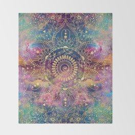 Gold watercolor and nebula mandala Throw Blanket
