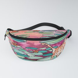 Ginger Cat amongst the Lily Pads on a Pink Lake Fanny Pack