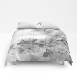 CHERRY BLOSSOMS GRAY AND WHITE Comforters