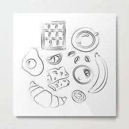 Modern black and white breakfast art Metal Print