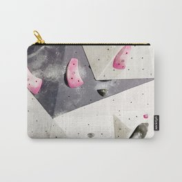 Geometric abstract free climbing gym wall boulders pink white Carry-All Pouch