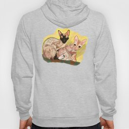 Tiger and George - the Cornish Rex Cats Hoody