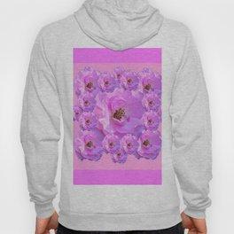 Fuchsia Purple Pink Wild Roses Pattern Art Hoody