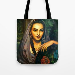 Jesus Helguera Painting of a Calendar Girl with Dark Shawl Tote Bag