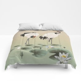 Water Lilies and Cranes Comforters