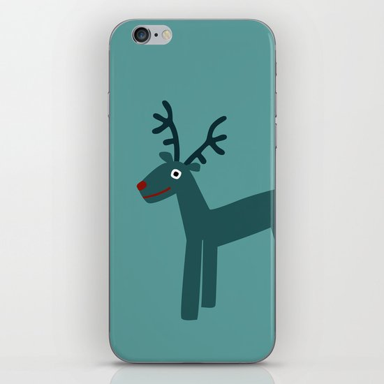 Reindeer-Teal iPhone & iPod Skin