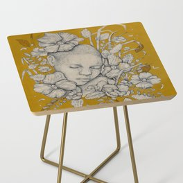 """Guardians"" - Surreal Floral Portrait Illustration Side Table"