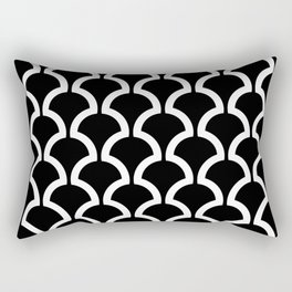 Classic Fan or Scallop Pattern 437 Black and white Rectangular Pillow