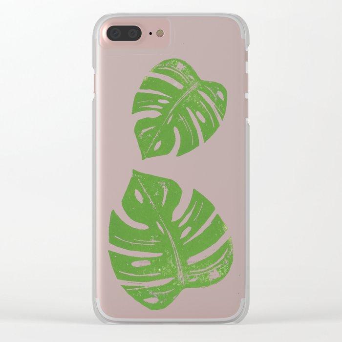 Linocut Monstera Leaf Pattern Clear iPhone Case