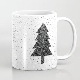 Christmas Tree With Snow Falling black and white Coffee Mug