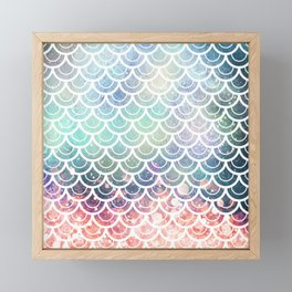 Mermaid Scales Coral and Turquoise Framed Mini Art Print