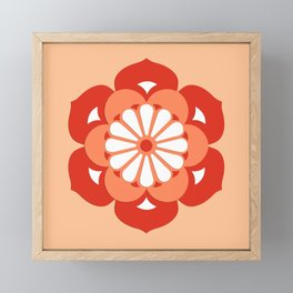 Lotus Flower Mandala, Pastel Orange and Mandarin Framed Mini Art Print