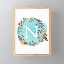 Personalized Monogram Initial Letter N Blue Watercolor Flower Wreath Artwork Framed Mini Art Print