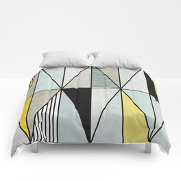 Colorful Concrete Triangles - Yellow, Blue, Grey Comforters