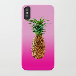 Modern pop leopard pattern pineapple on 90's neon pink gradient iPhone Case