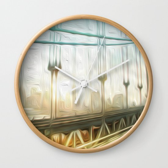 manhattan bridge morning Wall Clock