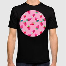 Pink Strawberry Pop MEDIUM Mens Fitted Tee Black