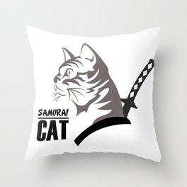Samurai Cat Throw Pillow