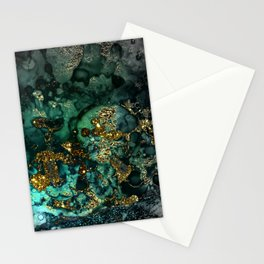 Gold Indigo Malachite Marble Stationery Cards